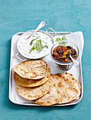Mango chutney, Mint raita and wholemeal roti brad