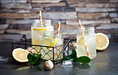 Diet lemonade made with apple vinegar, ginger, lemon and honey