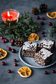 Christmas poppy seed and orange tray cake