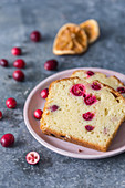 Orange loaf cake with cranberries