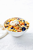 Quinoa salad with almonds and blueberries