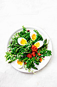 Kale, broccolini asparagus and egg salad