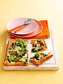 Mushroom and rocket tart