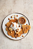 Waffles with caramel sauce and ice-cream