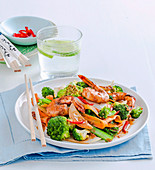 Vegie-packed ginger and prawn stir-fry