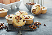 Muffins with chocolate chips and salted pretzels