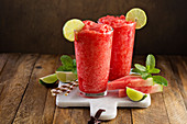 Watermelon slushies in glasses