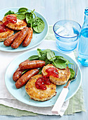 Chipolatas with cauliflower fritters