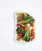 Spanischer Salat mit gegrillten Romana Salatherzen