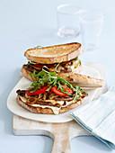 Double-decker steak sandwiches