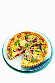 Beetroot, pea and feta quiche