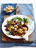 Warm mixed vegie and lentil salad