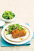 Lamb meatloaf with carrot mash