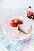 Strawberry zebra cheesecake