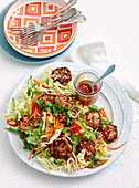 Pork patties with asian salad