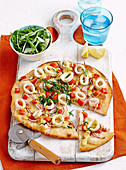 Squid pizza with saffron aioli