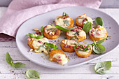 Caprese sweet potato slices