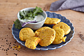 Indian sweet potato and chickpea fritters