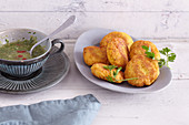 Sweet potato and coconut fritters with salsa