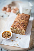 Protein bread with mealworm flour, bran, quark and yeast (low carb)