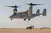 US marines deploying from tiltrotor aircraft
