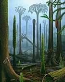 Lepidodendron Carboniferous plants, illustration