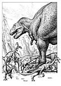 Lark Quarry dinosaur stampede, illustration