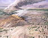 Tertiary volcanic landscape, illustration