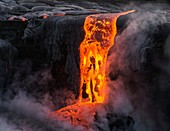 Lava flow entering the sea, Kilauea, Hawaii