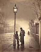 Twilight street scene, circa 1860