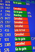 Cancelled flights on departure board