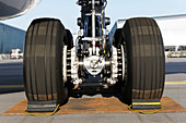 Airbus A330-200F main wheel in chocks
