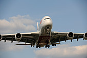 Airbus A380-800 approaching airport