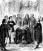 Illuminati initiation ceremony, 19th Century illustration