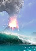 Artwork of a Tsunami