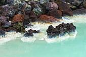 Mineral sediment precipitation, Blue Lagoon, Iceland