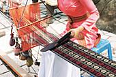 Clothing loom in use, Vietnam