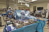 Open heart surgery team