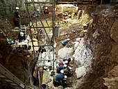 Excavations at Cueva Mayor site, Spain