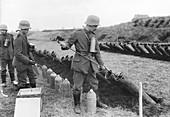 Germans training with gas shells, First World War