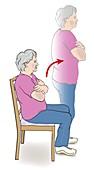 Sitting exercise, illustration