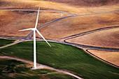 Wind turbine, California, USA, aerial photograph