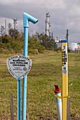 Underground pipeline markers, Texas, USA