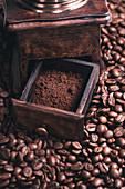Ground coffee in grinder