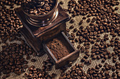 Coffee beans and grinder