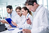 Medical colleagues with clip board