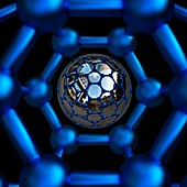 Buckyball C60 inside with central sphere, illustration