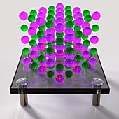 Sodium chloride crystal, illustration
