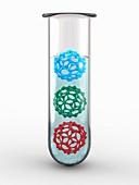 Test-tube with buckyballs C60, illustration