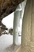 Frozen waterfall in Svalbard